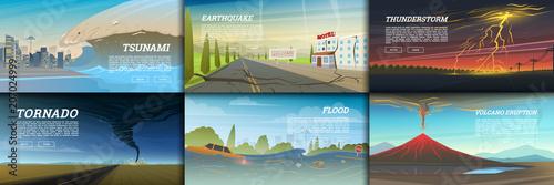 Obraz na plátně Set of natural disaster or cataclysms
