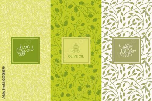 Fotografia Vector packaging design elements and templates for olive oil labels and bottles