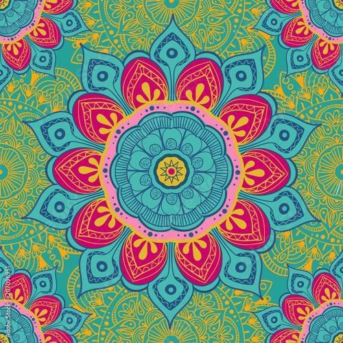 Obraz na plátně Flower mandala colorful background for cards, prints, textile and coloring books