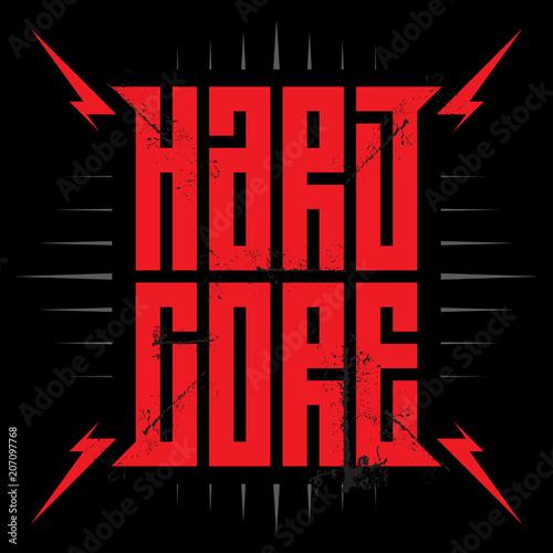 Hardcore - music poster with red lightnings Fototapeta