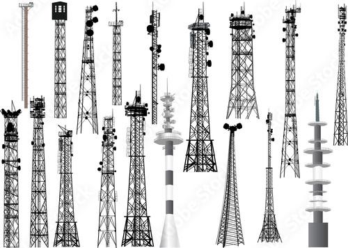Carta da parati group with eighteen antenna towers on white
