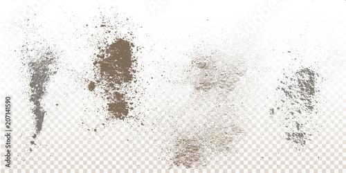 Scattered powder falls, stains, splashes, powder explosion Fototapet