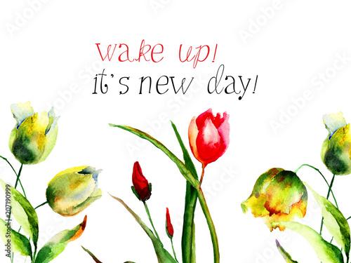 Kwiaty tulipanów z budzikiem, to nowy dzień