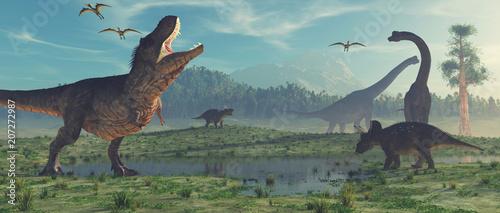 Canvas Print 3d render dinosaur.