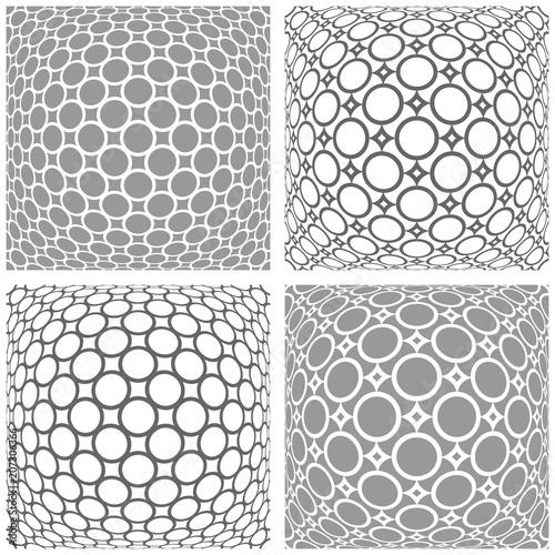 Fototapeta 3D patterns set. Abstract convex geometric backgrounds.