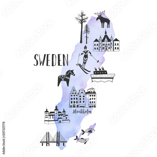 Canvas Print Vector watercolor map with handdrawn illustrations of famous sightseeings, place