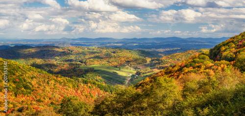 Obraz na płótnie Autumn foliage of a farming valley taken from Grayson Highlands  Virginia State