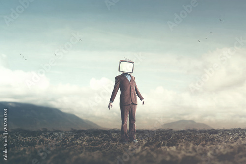 surreal concept man with television over his head