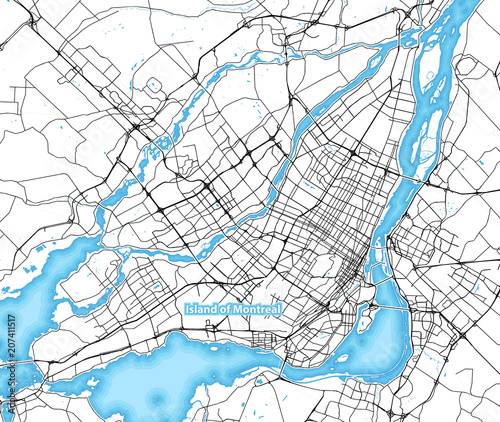 Fotografie, Obraz Map of the island of Montreal, Canada