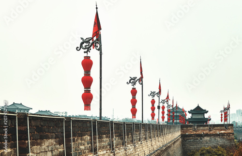 Xian City Wall, color toned picture, China.