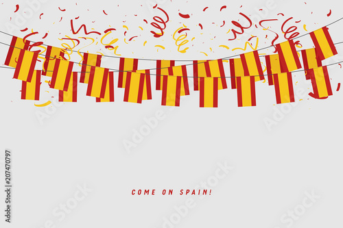 Wallpaper Mural Spain garland flag with confetti on gray background, Hang bunting for Spanish celebration template banner
