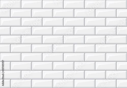Obraz na plátně Subway seamless white pattern. Brick wall. Vector illustration