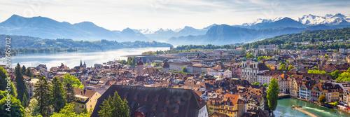 Fotografie, Obraz Historic city center of Lucerne with famous Chapel Bridge and lake Lucerne (Vier