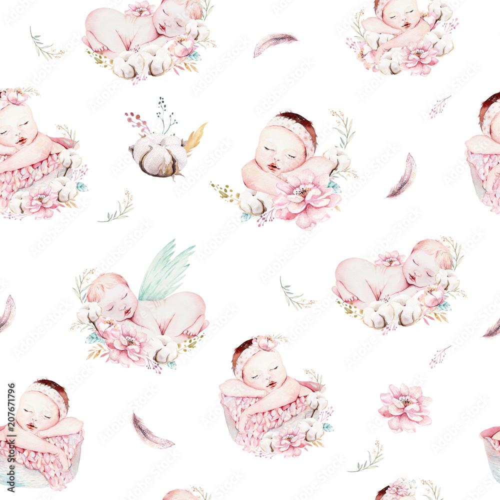 Ładny noworodka akwarela dziecko wzór. Nowonarodzony sen śpi dziecko ilustracyjne wzory dziewczyna i chłopak. Baby shower urodziny malowanie backgraund malarstwo. <span>plik: #207671796   autor: kris_art</span>