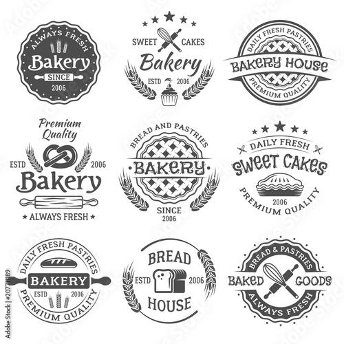 Stampa su Tela Bakery and pastries vintage vector black emblems
