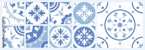 Fotografie, Obraz Bundle of ceramic square tiles with various traditional oriental patterns