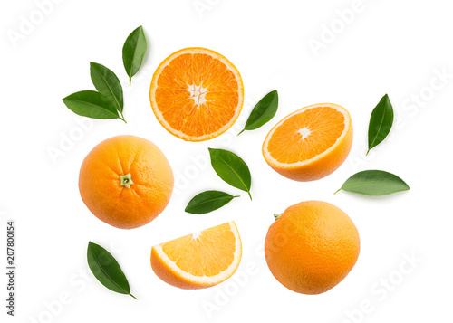 Group of slices, whole of fresh orange fruits and leaves isolated on white background. Top view