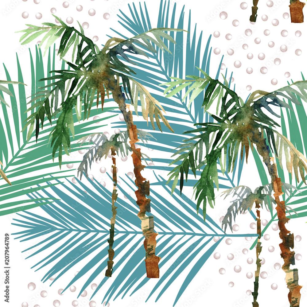 Fototapeta Palmy akwarela liście i kropki nowoczesny styl