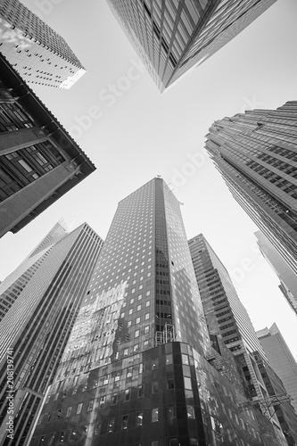 Black and white picture of Manhattan skyscrapers, New York City, USA.