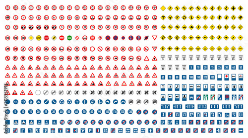 Photo Largest set of international road signs on white