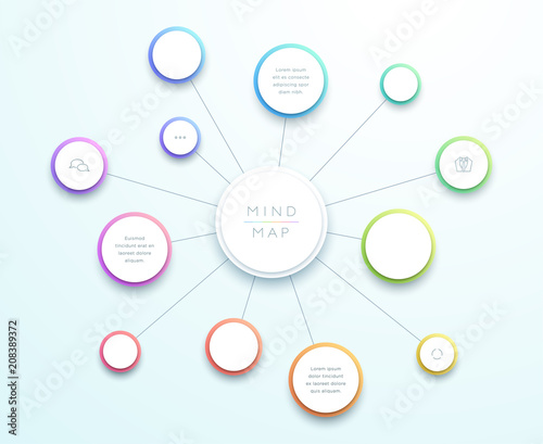 Fotografia Abstract Vector 3d Large Mind Map Infographic