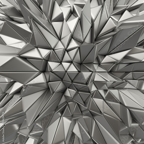 Chrome abstract triangles backdrop