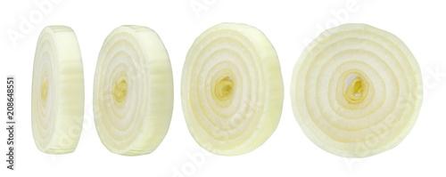 Sliced onion isolated on white background
