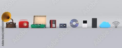 Fotografia, Obraz 3D illustration of music player evolution