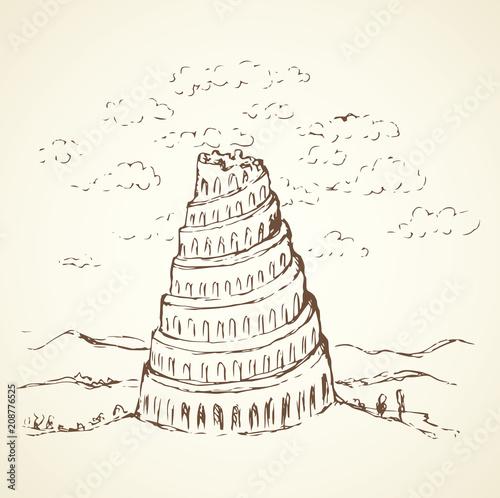 Fényképezés Tower of Babel. Vector drawing