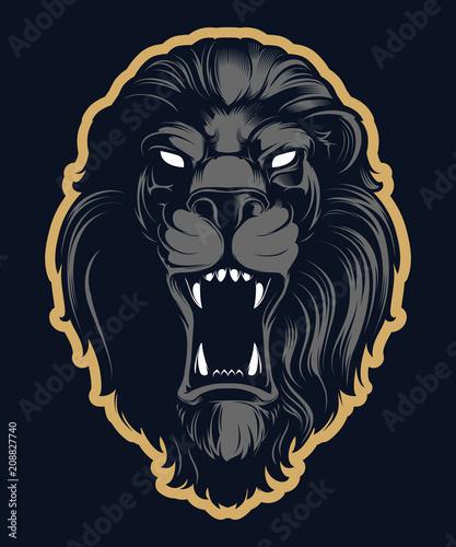 Fototapeta premium Ryczący maskotka głowa lwa, wersja kolorowa. Świetne na logo sportowe i maskotki drużyny.
