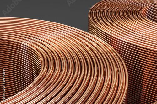 Obraz na plátne Spiral copper pipes and copper tubes. 3D illustration