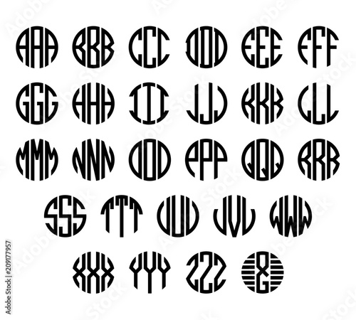 Obraz na plátně Set of letters to create circle monogram