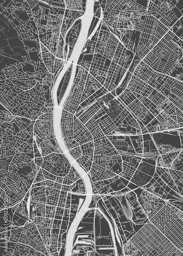 Canvas Print Budapest city plan, detailed vector map