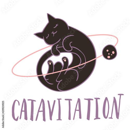 Śliczny kot latający w przestrzeni do spania w otoczeniu gwiazd, planet. asteroidy. Odręczny napis Prosta słodka dzieciak pepiniery ilustracja. Projekt graficzny odzieży.