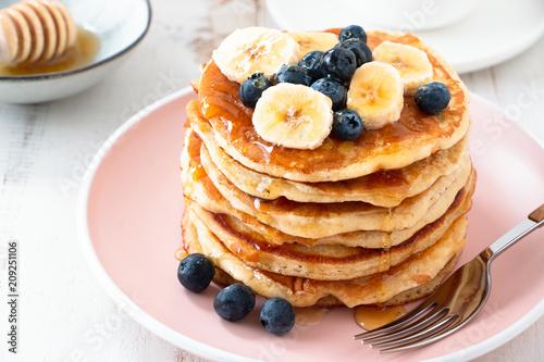 Homemade pancakes with blackberries and banana