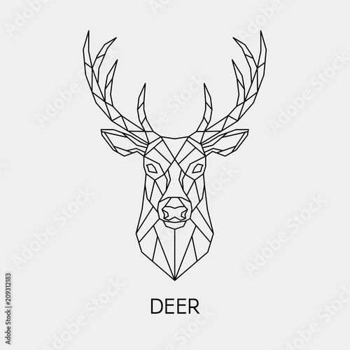 Fototapeta premium Streszczenie wielokątne głowy jelenia. Geometryczne zwierzę liniowe. Wektor.