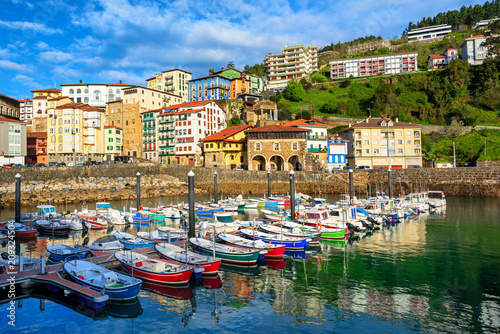 Colorful houses in Mutriku port and Old town, Basque country, Spain