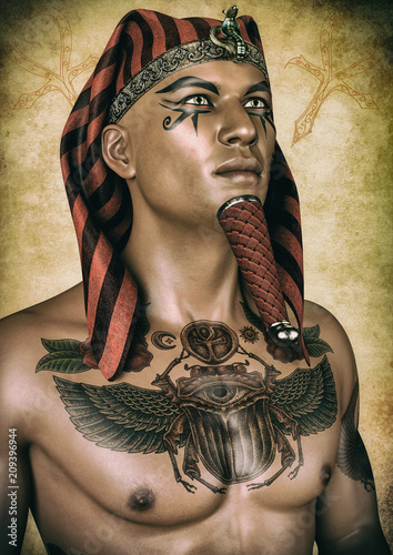 Fotografie, Obraz Portrait of an Egyptian pharaoh with his chest tattooed.