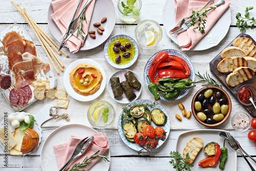 Obraz na plátne Mediterranean appetizers table concept