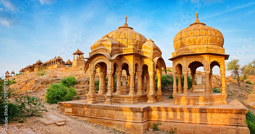 Canvas Print The royal cenotaphs of historic rulers, also known as Jaisalmer Chhatris, at Bada Bagh in Jaisalmer, Rajasthan, India