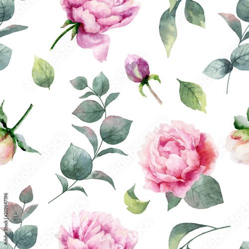 Fototapeta różowe piwonie drobny wzór minimalistyczny kl