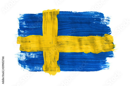 Wallpaper Mural Painted Swedish flag isolated