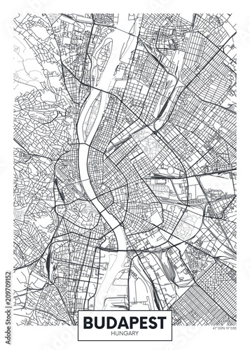 Photo Detailed vector poster city map Budapest