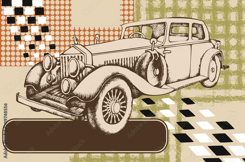 Vintage avto. Grawerowane stylu. Ilustracji wektorowych <span>plik: #209748556 | autor: Helen Trupak</span>