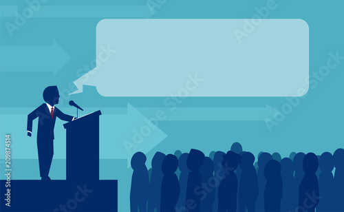 Canvas Print Vector of person making speech for crowd