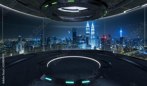 Fotografia Futuristic interior design empty space room with large windows and city urban landscape