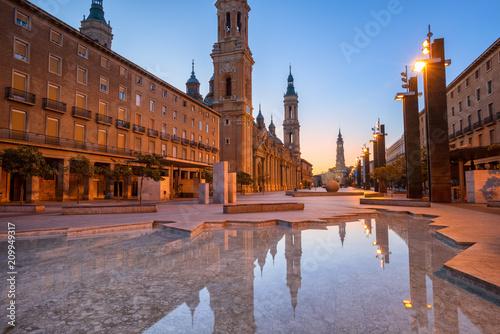 Zaragoza city in early morning light, Spain