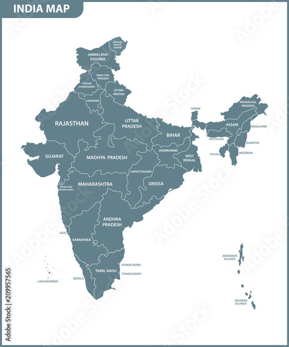 Canvas Print The detailed map of the India with regions or states