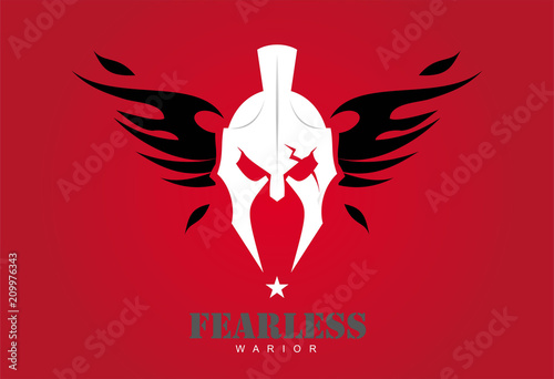 Fototapeta front view of winged warrior head combine with text