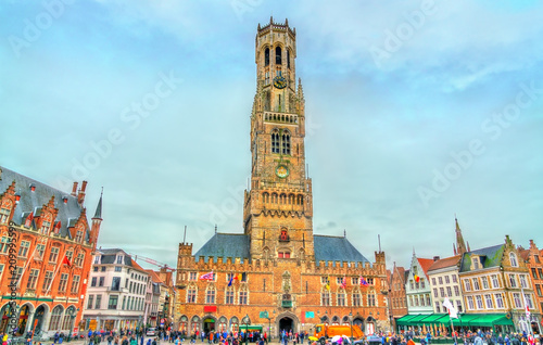 Fényképezés The Belfry of Bruges, a medieval bell tower in Belgium